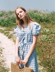 [NOMINATE] GINGHAM CHECK DRESS SKYBLUE