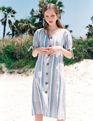 [NOMINATE] LINEN STRIPE BUTTON DART DRESS SKYBLUE