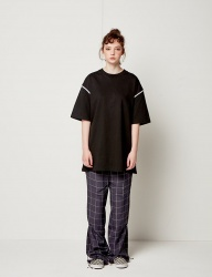 [SEWING BOUNDARIES] BACK WEBBING STRAP TEE BLACK