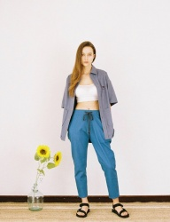 [PRAIRIE] SUN-FLOWER WASHED STRETCH DENIM PANTS