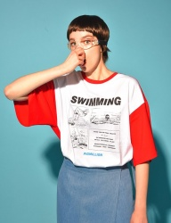 [PIGMILLION] SWIMMING TEE (WHITE/RED)