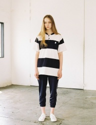 [IVORYPAPER] STRIPE HENRY-NECK OVER-FIT 1/2 BOX T-SHIRT