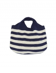 [whatever we want] SMILE STRIPE KNIT BAG [NAVY]
