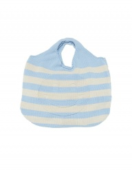 [whatever we want] SMILE STRIPE KNIT BAG [S.BLUE]