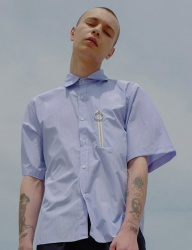 [DRUG WITHOUT SIDE EFFECT] Pocket Stripe Shirts (SkyBlue)