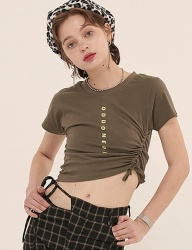 [ODDONEOUT] LOGO STRING CROP (KHAKI)