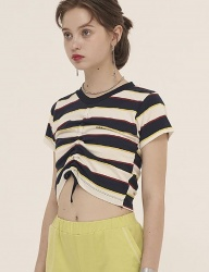 [ODDONEOUT] STRIPE STRING CROP (NAVY /IVORY)