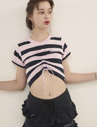 [ODDONEOUT] STRIPE STRING CROP (PINK / NAVY)