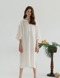 [nuissue] BELTED NATURAL DRESS[CREAM]