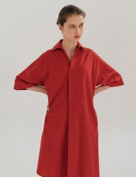 [nuissue] LINEN  SHIRT DRESS[RED]