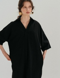 [nuissue] LINEN  SHIRT DRESS[BLACK]