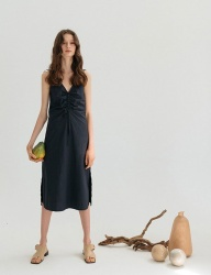 [nuissue] DRAWSTRING SLEEVELESS DRESS[NAVY]