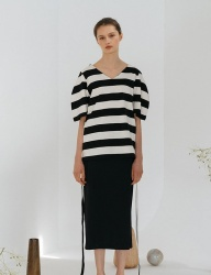 [nuissue] PUFF SLEEVE RIBBON TOP[STRIPE]