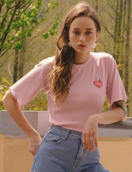 [VITALSIGN] Heart UnicornEmbroidered Frilly T-shirt (Pink)