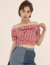 [ODDONEOUT] RIBBON OFFSHOULDER TOP (RED)