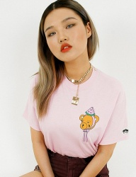 [FUZA] WATER MELON KILLER FACE TEE_LIGHT PINK