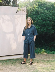 [PRAIRIE] DOT-CHECK DROP SHOULDER OVER 1/2 SHIRT_Blue
