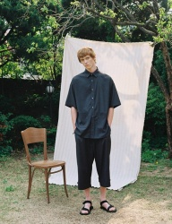[PRAIRIE] DOT-CHECK DROP SHOULDER OVER 1/2 SHIRT_Black