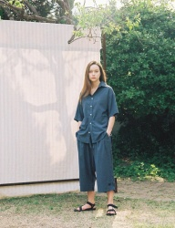 [PRAIRIE] DOT-CHECK ANKLE BELT WIDE PANTS_Blue