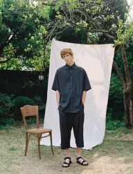 [PRAIRIE] DOT-CHECK ANKLE BELT WIDE PANTS_Black