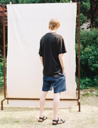 [PRAIRIE] SUN-FLOWER WASHED STRETCH DENIM HALF PANTS_Indigo