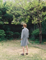 [PRAIRIE] GLEN-CHECK COOLING BEACH ROBE GOWN_Gray