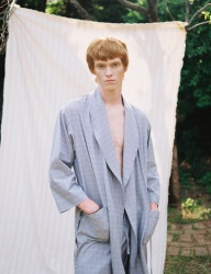 [PRAIRIE] MD LEVE CHECK BEACH ROBE GOWN_Blue