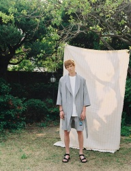 [PRAIRIE] MD LEVE CHECK BEACH ROBE GOWN_Black