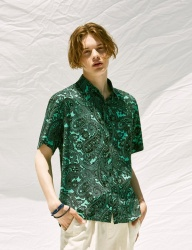 [VOIEBIT] V430 PAISELY HALF-SHIRT (GREEN)