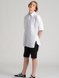 [costume oclock] LINEN DROP SHOULDER 83 SHIRTS WHITE