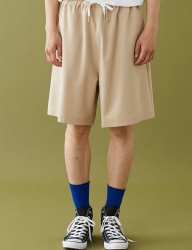 [MSKN2ND] M LOGO LOOSE FIT SHORTS BEIGE