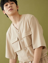 [MSKN2ND] COLLARLESS V NECK SS SHIRT BEIGE