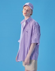[WaiKei] WaiKei Open Half sleeve Pattern Mix shirts_Purple