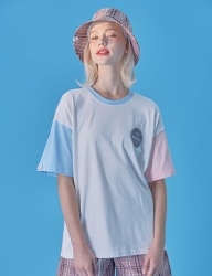 [WaiKei] WaiKei Hot Summer Color Block T-shirts_SoraPink