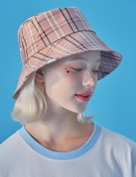 [WaiKei] WaiKei Hot Summer Bucket Hat_Check Pink