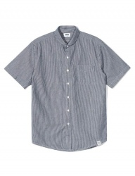 [QT8] TW Stripe Half Shirt (Navy)