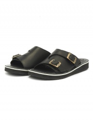 [The Wankers] Oil-leather Double Strap [Black]
