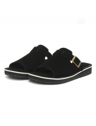 [The Wankers] Suede Single Strap [Black]