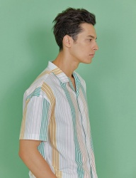 [INDIGO CHILDREN] MULTI STRIPE HALF SHIRT [GREEN]