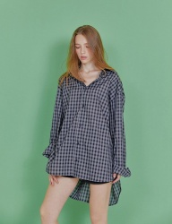 [INDIGO CHILDREN] OVERSIZED CHECK TAIL SHIRT [NAVY]