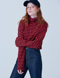 [CLIF] TURTLE NECK STRIPE TEE_RED