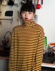 [CLIF] TURTLE NECK STRIPE TEE_YELLOW