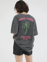 [REORG] COCONUTPALM ROGO PRINGTING T-SHIRT GREY