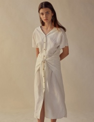 [TEAM SCULPTOR] FRONT TIE LINEN DRESS IVORY