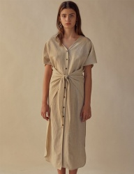 [TEAM SCULPTOR] FRONT TIE LINEN DRESS NATURAL
