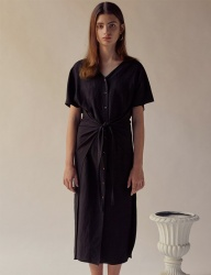 [TEAM SCULPTOR] FRONT TIE LINEN DRESS BLACK