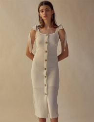 [TEAM SCULPTOR] SHOULDER TIE LINEN DRESS WHITE
