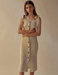 [TEAM SCULPTOR] SHOULDER TIE LINEN DRESS NATURAL