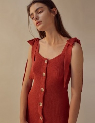 [TEAM SCULPTOR] SHOULDER TIE LINEN DRESS RED