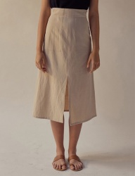 [TEAM SCULPTOR] SLIT LINEN SKIRT PALE BEIGE